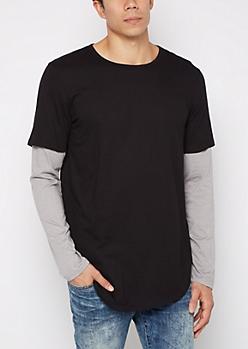 Black Layered Long Length Shirt
