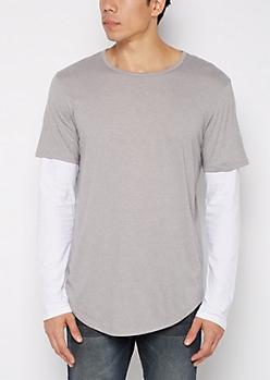 Heather Gray Layered Long Length Shirt