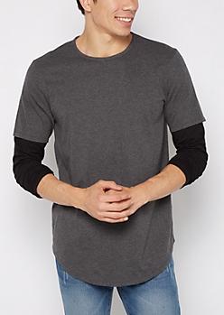 Charcoal Gray Layered Long Length Shirt