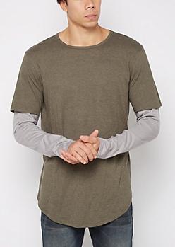 Olive Layered Long Length Shirt