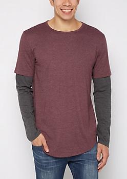 Dark Purple Layered Long Length Shirt