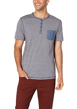 Charcoal Grey Hairline Striped Henley Pocket Tee
