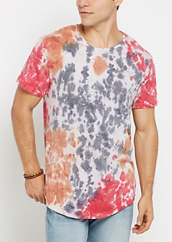 Red Washed Tie Dye Tee