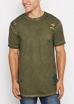 Olive Torn & Washed Tee