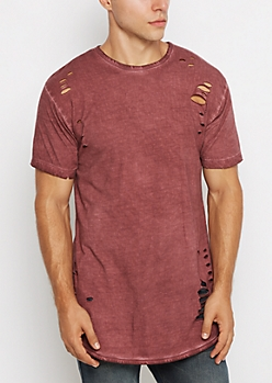 Burgundy Torn & Washed Tee