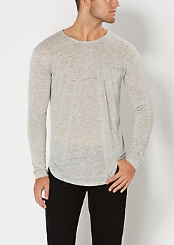Static Gray Slub Knit Pocketed Top