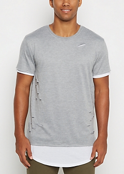 Gray Ripped & Layered Long Length Tee