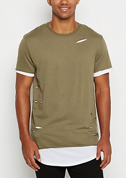 Olive Ripped & Layered Long Length Tee