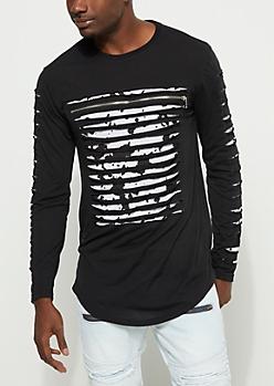 Black Paint Splattered Slashed Top