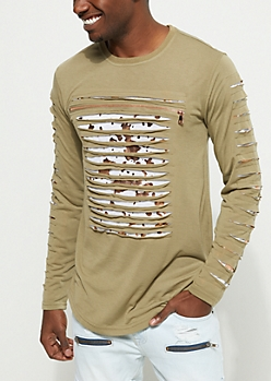 Olive Ripped Foil Long Sleeve Tee