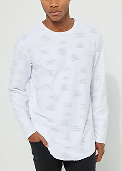 White Ripped Long Sleeve Tee