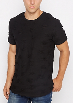 Black Ripped & Frayed Tee