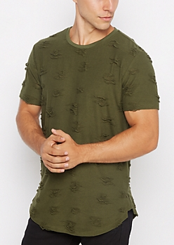 Olive Ripped & Frayed Tee