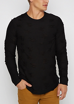 Black Ripped Long Sleeve Shirt