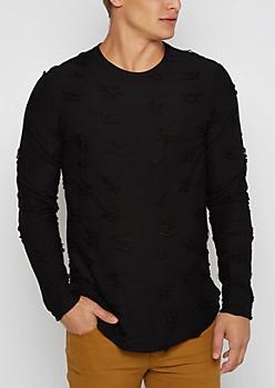 Black Ripped Long Sleeve Shirt
