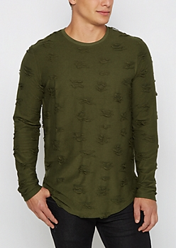 Olive Ripped Long Sleeve Shirt