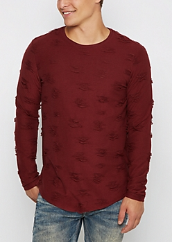 Burgundy Ripped Long Sleeve Shirt