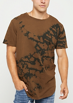 Brown Crystal Tie Dye Tee