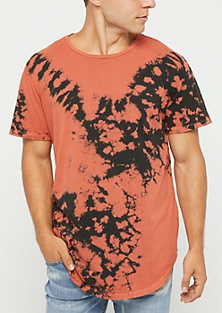 Orange Crystal Tie Dye Tee