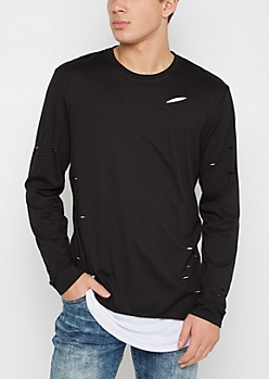 Black Ripped Layered Longer Length Tee