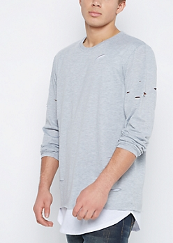 Gray Ripped Layered Longer Length Tee