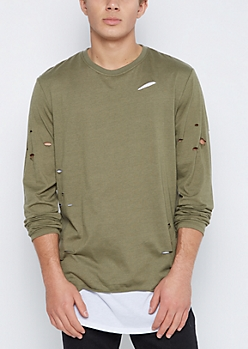 Olive Ripped Layered Longer Length Tee