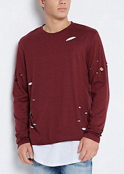 Burgundy Ripped Layered Longline Tee