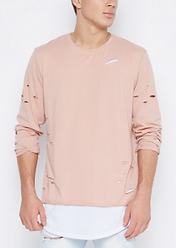 Pink Ripped Layered Longline Tee
