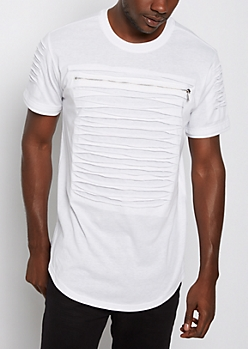 White Slashed & Zipped Layered Tee