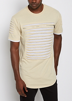 Sand Slashed & Zipped Layered Tee