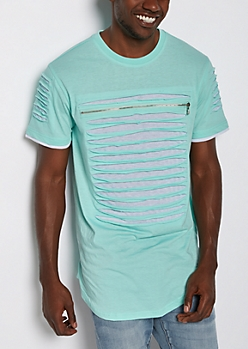Mint Slashed & Zipped Layered Tee