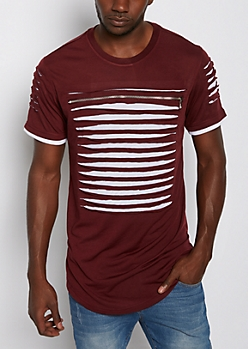 Burgundy Slashed & Zipped Layered Tee