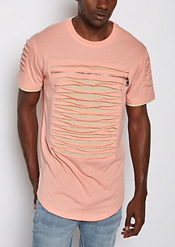 Pink Slashed & Zipped Layered Tee