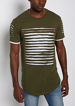 Olive Slashed & Zipped Layered Tee