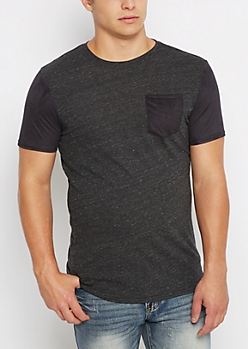 Charcoal Faux Suede Sleeve Tee