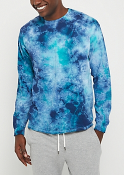 Blue Crystal Wash Long Sleeve Tee