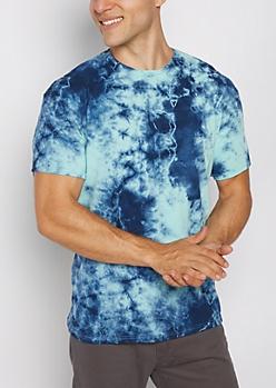 Blue Crystal Tie Dye Tee