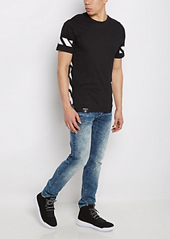 Black Striped Long Length Fishtail Tee