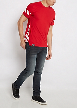 Red Striped Long Length Fishtail Tee