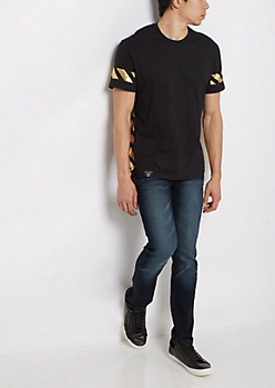 Black Metallic Striped Long Length Fishtail Tee