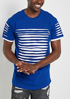 Royal Blue Slashed & Zipped Layered Tee