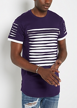 Purple Slashed & Zipped Layered Tee