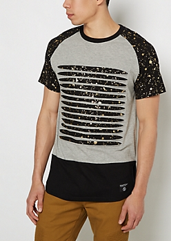 Gray Foiled Splattered & Ripped Tee