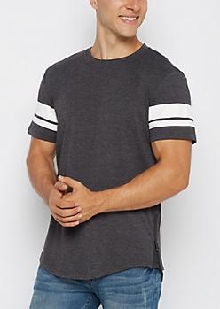 Charcoal Zipped Football Striped Long Length Tee