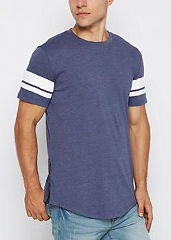 Navy Zipped Football Striped Long Length Tee