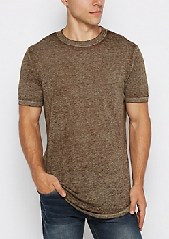 Olive Burnout Long Length Tee