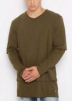 Slub Jersey Long Length Layered Tee