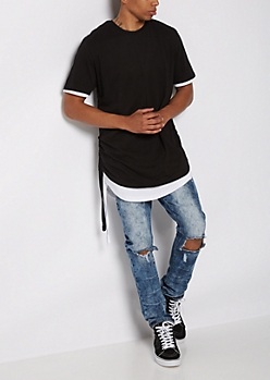 Black Layered Drawstring Tee