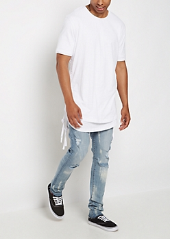 White Layered Drawstring Tee