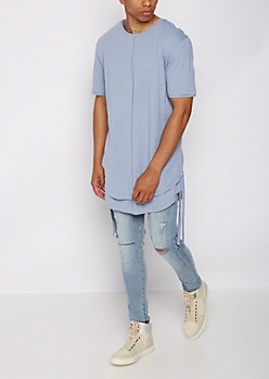 Light Blue Layered Drawstring Tee